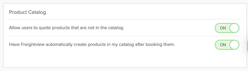 product catalog settings